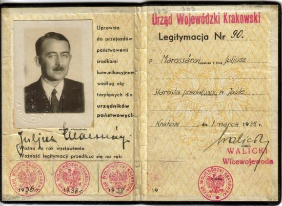 Juliusz Marossanyi, legitymacja starosty