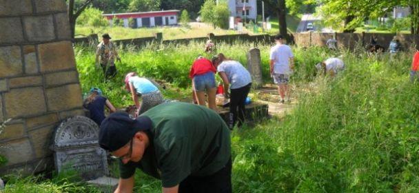 Sprzątanie cmentarza żydowskiego w Jaśle