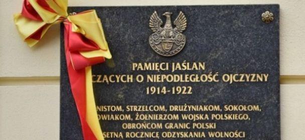 Odsłonięcie tablicy Bohaterów Walk o Niepodległość w Jaśle
